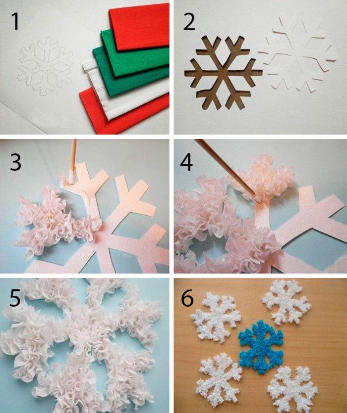 Снежинка из гофробумаги мастер-класс