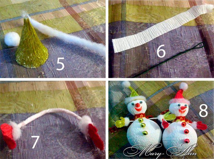 Снеговик из конфет и гофрированной бумаги мастер-класс