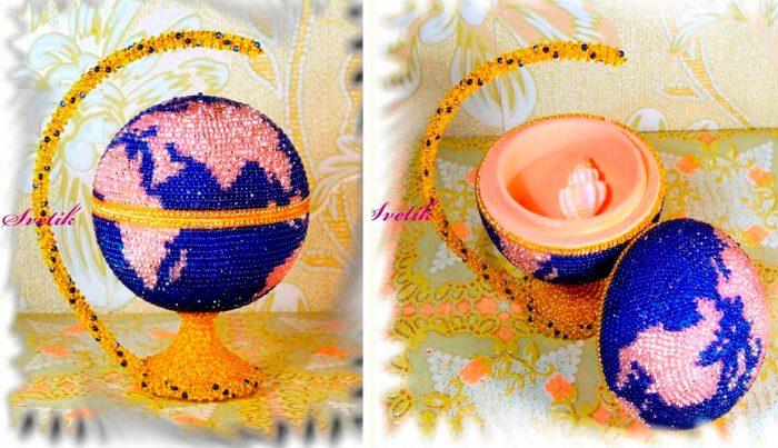 Шкатулка-глобус из бисера