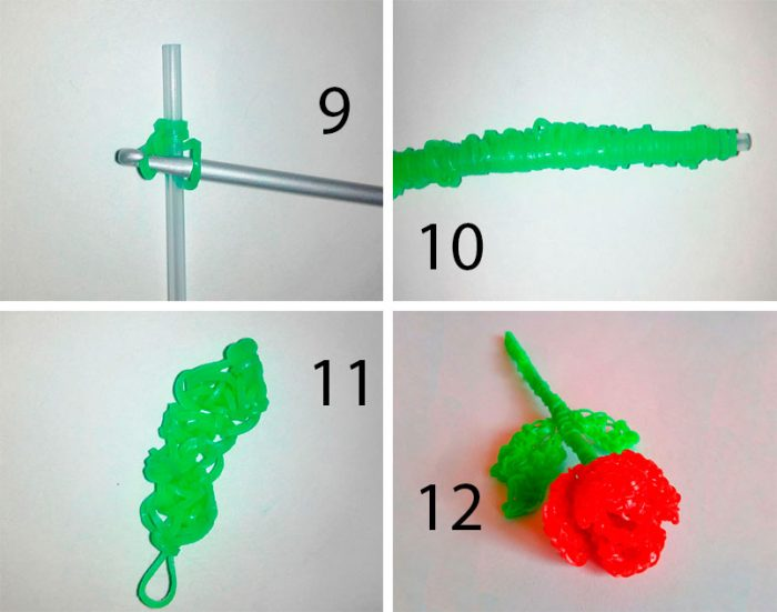 роза из резинок пошаговая схема плетения