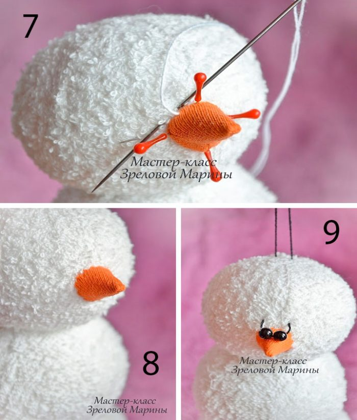 Махровые снеговики мастер-класс