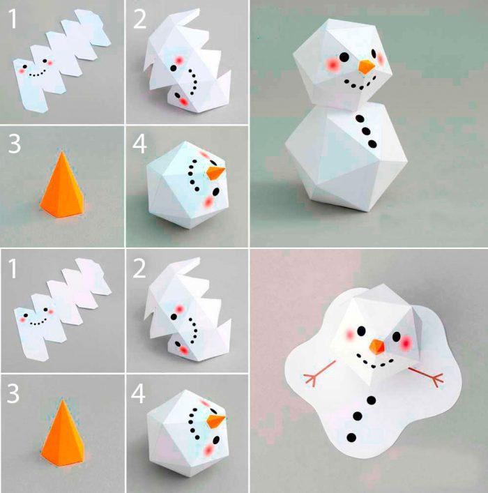 Объёмный снеговик