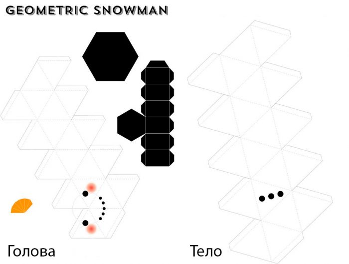 шаблон 3д снеговика