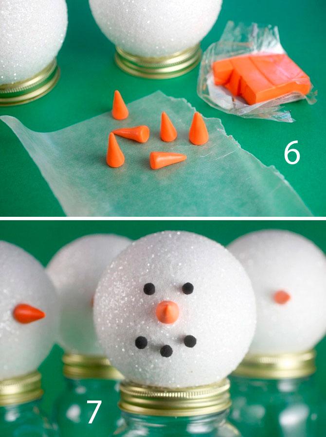 снеговик из конфет пошагово