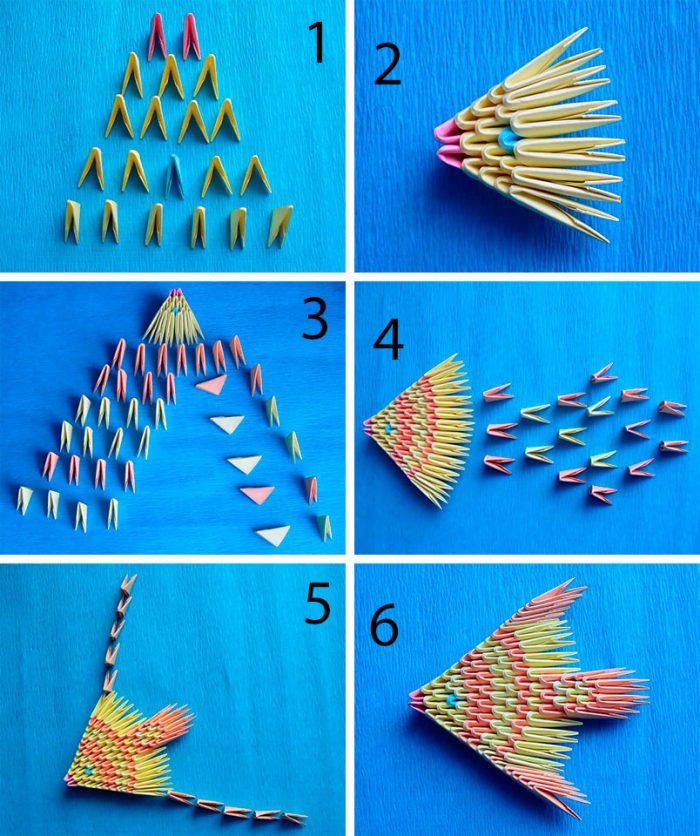 модульное оригами рыба пошагово