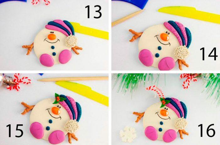 снеговик из пластилина пошагово