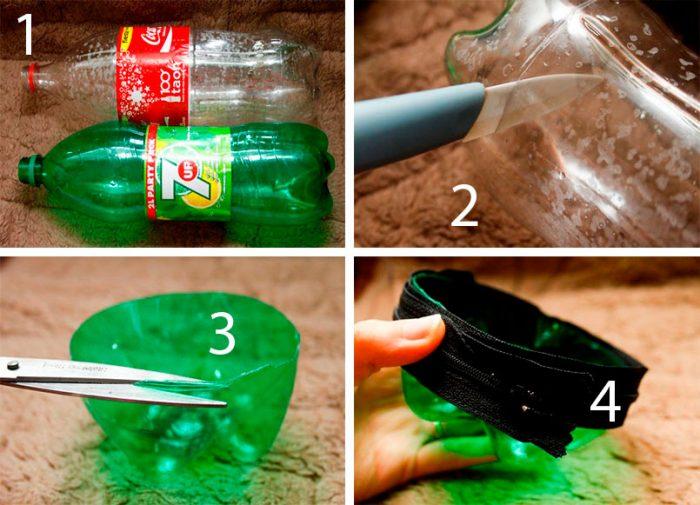 кошелёк из пластиковой бутылки на молнии