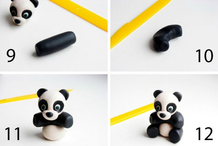 лепим панду из пластилина