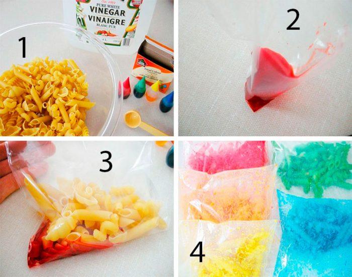 Как покрасить макароны?