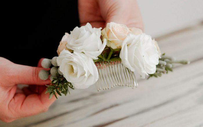 Свадебное украшение волос из живых цветов мастер-класс