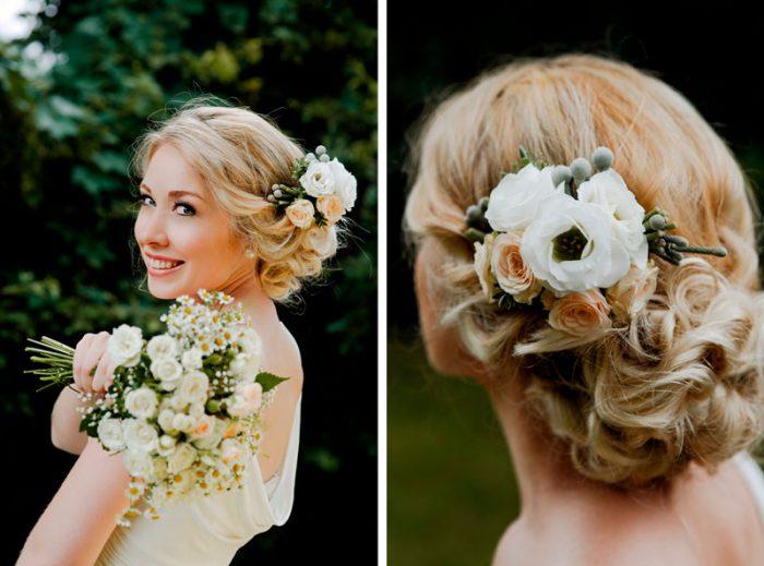 Свадебное украшение волос из живых цветов своими руками