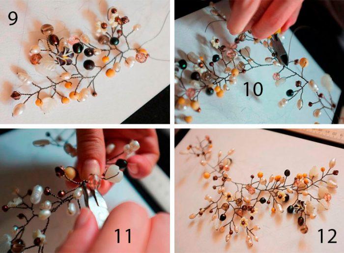 веточка для волос невесты из проволоки и бусин