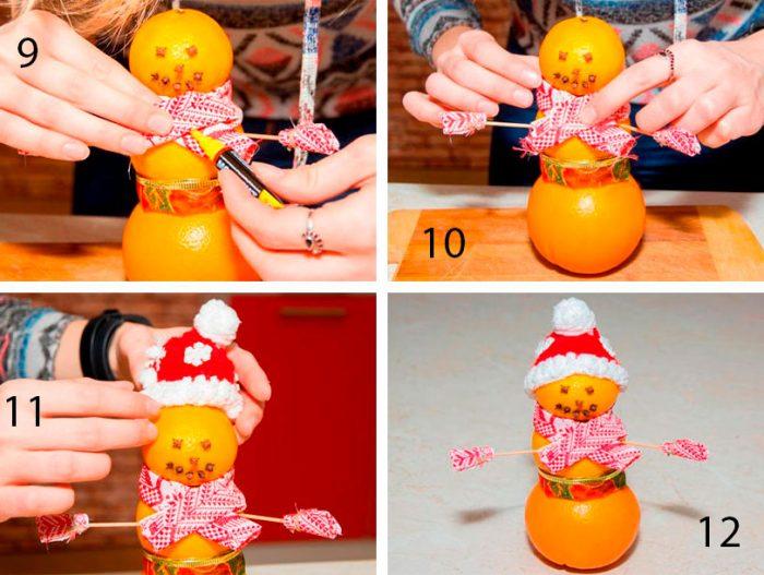 снеговик из мандарин пошагово