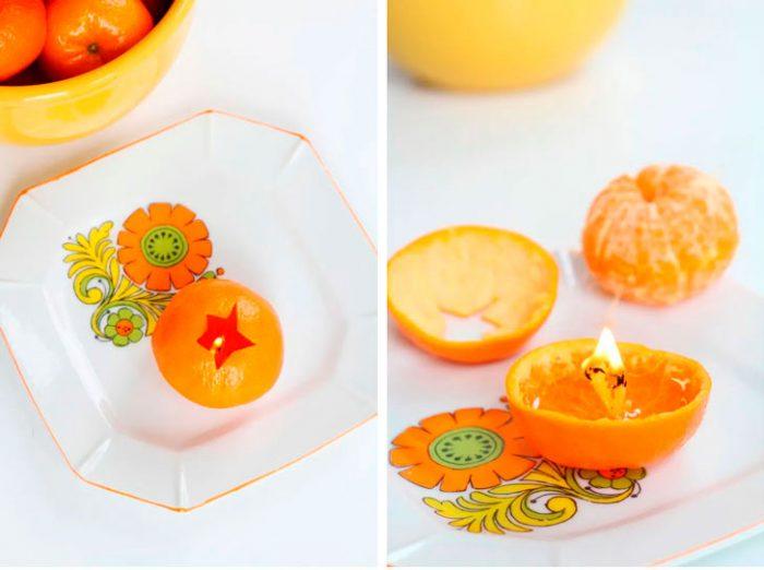 свеча из мандарина