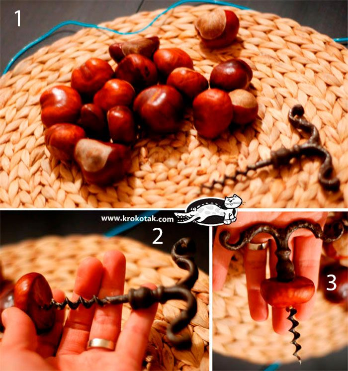 Гусеница из каштанов пошаговая инструкция
