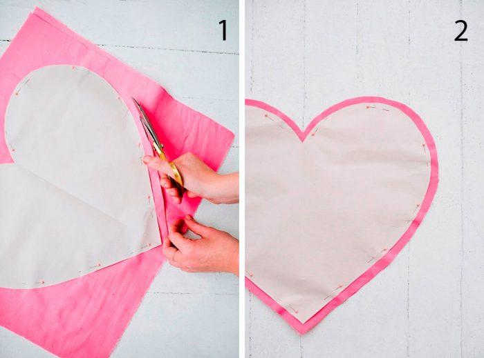 как сшить подушку сердце