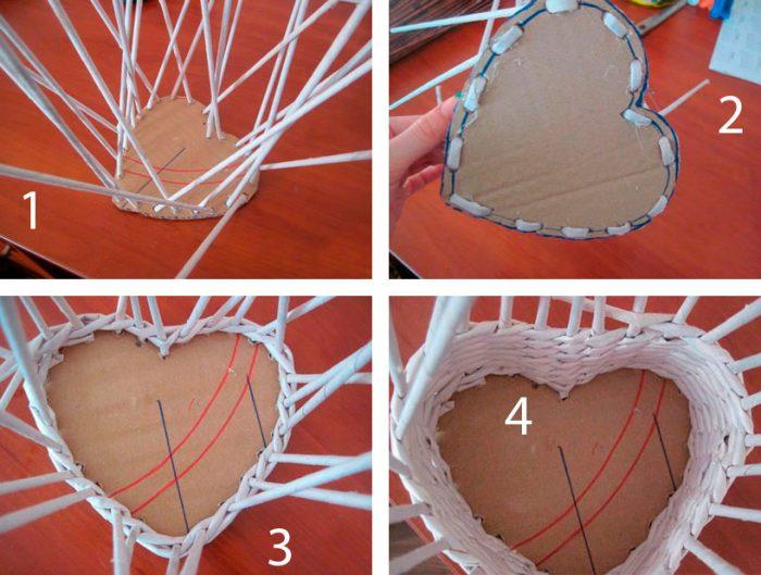 Шкатулка «Сердце» из газетных трубочек