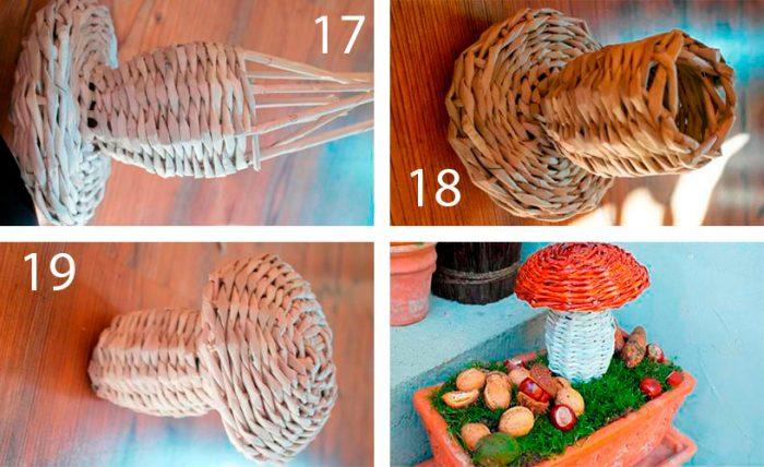 плетём гриб из газетных трубочек