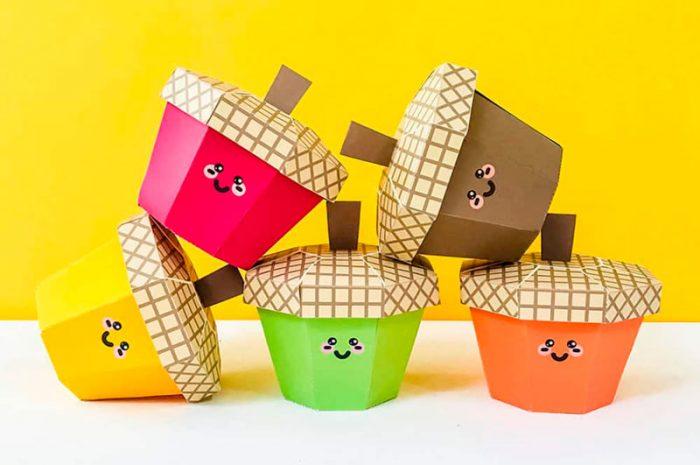 Жёлуди-коробочки из картона