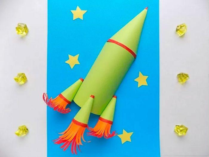 Объёмная аппликация «Ракета»