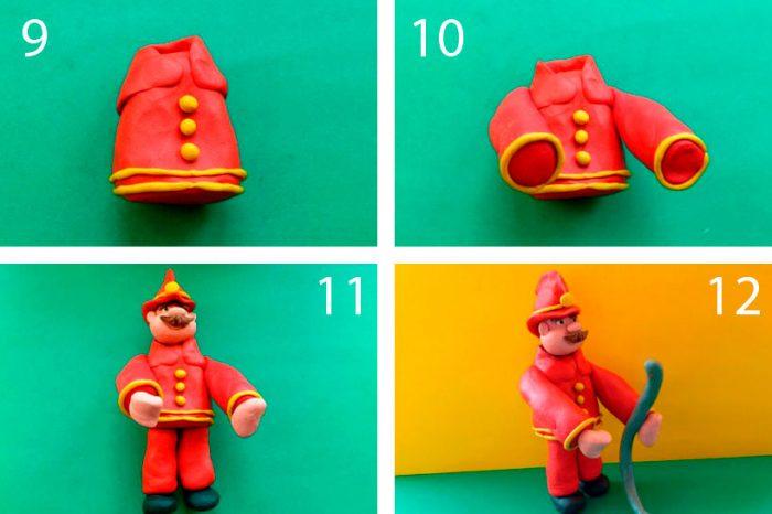 Пожарник из пластилина мастер-класс поэтапно