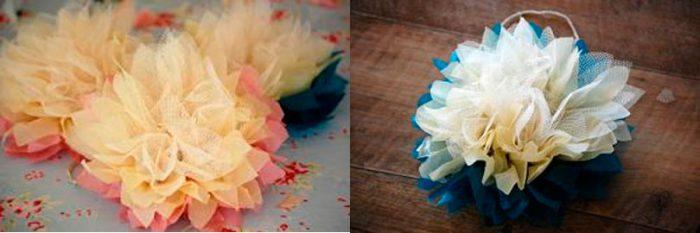 Цветы на фатине своими руками