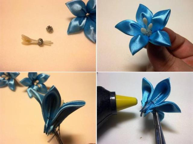 Цветок из атласа пошаговое