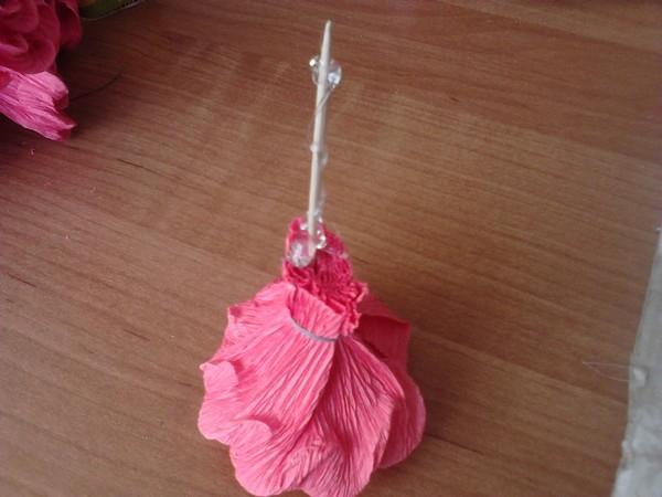 rose on toothpicks
