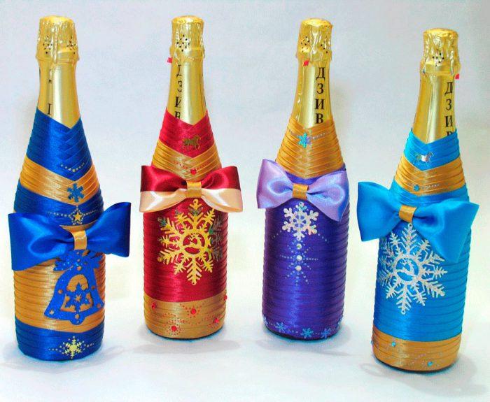Украшение шампанского лентами своими руками