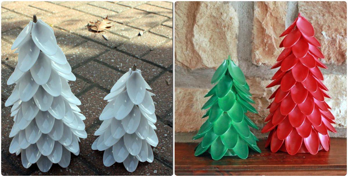 Новогодние поделки из пластиковых вилок и ложек 77