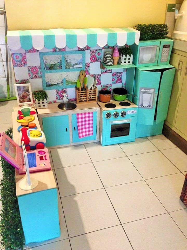 Детские кухни для девочек из картона своими руками 8
