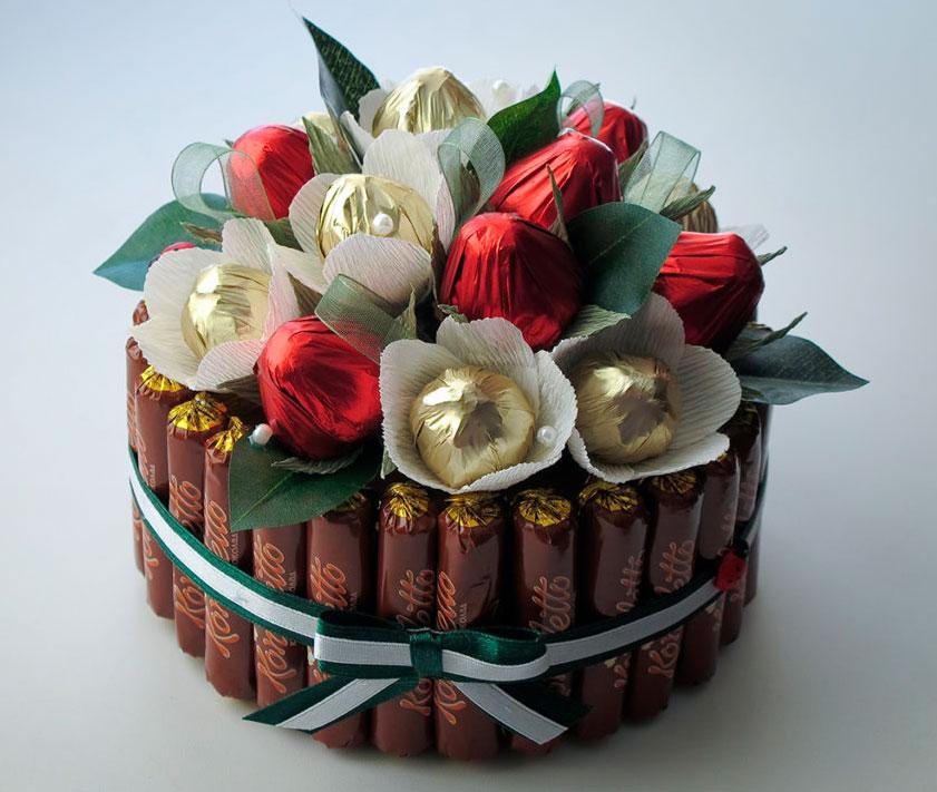 Букеты из конфет для подарка своими руками
