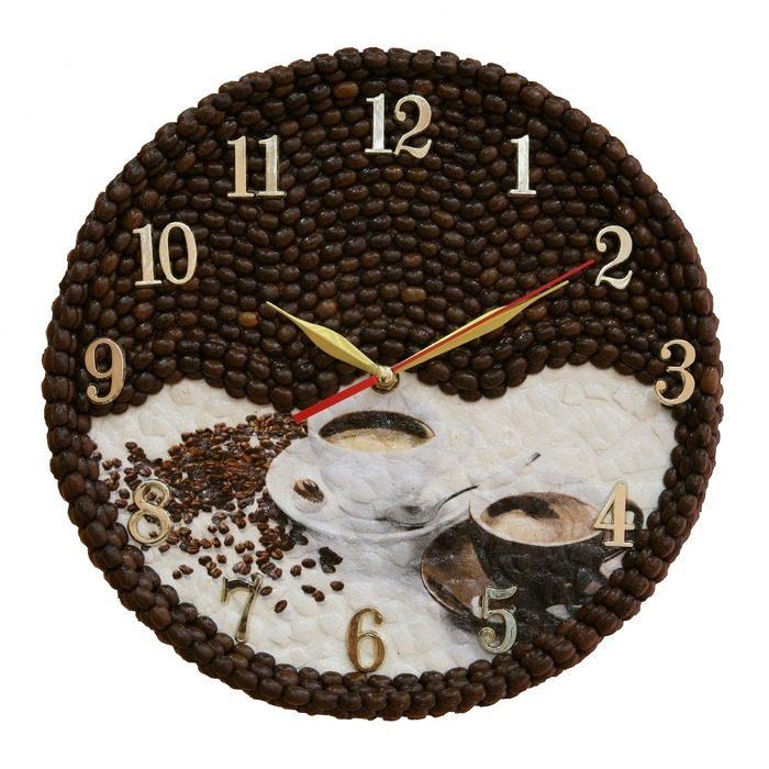 Поделки из кофейных зёрен часы 47