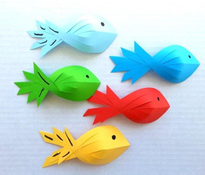 Рыбки из бумаги своими руками для детей шаблоны