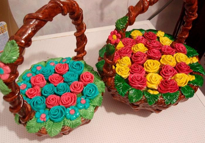 Поделка корзинка с цветами пошагово