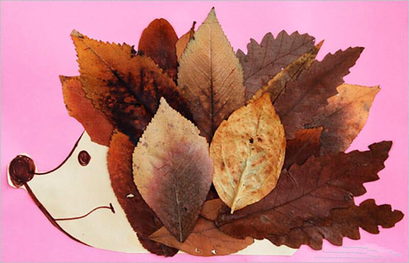 Поделка ёжик с листьями 14